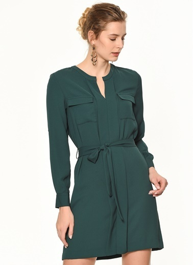 Random Cep Detaylı Beli Kuşaklı Elbise Yeşil